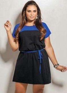 Vestido Plus Size Preto e Azul - Posthaus