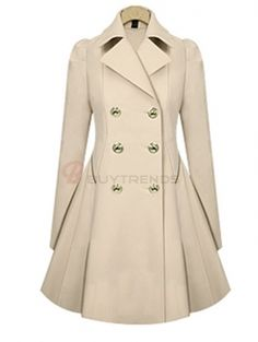 Elegant Long Sleeve Turn-Down Collar Double Breasted Ol Style Women's Trench Coat on buytrends.com