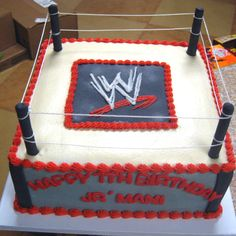 WWE Cake for all the little/big wrestling fans! Wrestling Birthday Cakes, Wrestling Cake, Wrestling Party, Wwe Party, 6th Birthday Parties, Boy Birthday, Birthday Ideas, Wwe Lucha, Wwe Cake