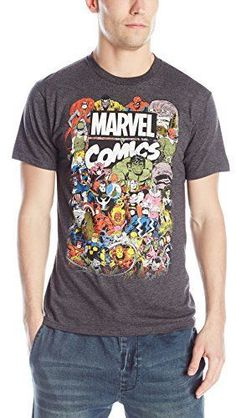 e39b84dec Marvel Men's Comics Crew T-Shirt, Charcoal Heather, XX-Large: Official  licensed Marvel product in a soft 30 single t-shirt.
