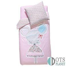 Pościel dla dziewczynki Myszka 140x200 to różowa bawełniana pościel w białe groszki motywem myszki baletnicy. To wyjątkowa pościel.