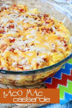 This Taco Mac Casserole is a total family favorite dinner! Taco beef, a box of macaroni and cheese, salsa, and cheddar - this is one recipe you're going to make again and again!
