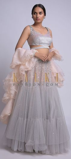 Dolphin Grey Skirt And Crop Top With Sequins Work And Ruffle Dupatta Online - Kalki Fashion Ethnic Outfits, Indian Outfits, Designer Blouses Online, Net Lehenga, Lehenga Designs, Sleeveless Crop Top, Gray Skirt, Indian Designer Wear, Indian Fashion