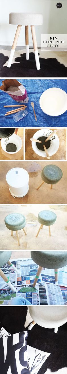 How to make a concrete Stool from a bucket, concrete, dowel and some white paint. A super easy DIY perfect to use as bedside tables for a bedroom.