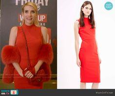 Chanel's red mock-neck dress on Scream Queens. Outfit Details: http://wornontv.net/54574/ #ScreamQueens