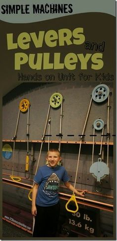 Levers and Pulleys Lesson - Kids will have fun learning about these simple machines with these hands on activities with lots of science experiments Preschool Science, Science Experiments Kids, Science Classroom, Science Fair, Science Education, Science For Kids, Science Activities, Science Projects, Earth Science