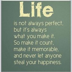 LIFE is not always perfect, but it's always what you make it. So make it count, make it memorable, and never let anyone steal your happiness........