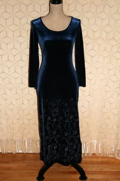 80s 90s Vintage Blue Velvet Dress Long Sleeve by MagpieandOtis