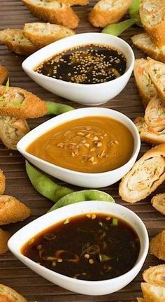 Trio of Asian Dipping Sauces Sweet, spicy and savory. 3 classic flavors come together in this trio of Asian dipping sauces that showcase authentic Asian flavors for spring and egg rolls. - Sweet, spicy and savory Asian dipping sauces Sauce Recipes, Cooking Recipes, Asian Food Recipes, Cooking Sauces, African Recipes, Meal Recipes, Curry Recipes, Salmon Recipes, Comida Diy
