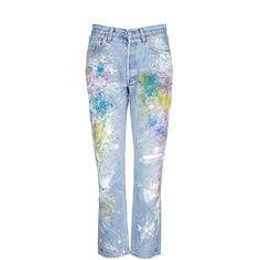 Rialto Jean Project One of a kind hand-painted splatter distressed... (865 BRL) ❤ liked on Polyvore featuring jeans, pants, bottoms, blue, denim, vintage denim jeans, destroyed denim jeans, distressed boyfriend jeans, destroyed jeans and blue denim jeans
