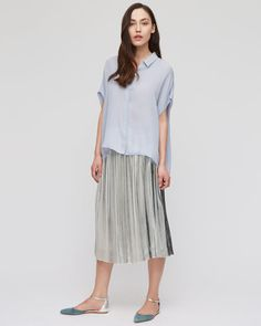 f3eef3589b4f £139.00 Feminine midi skirt with pleats crafted in signature stripe fabric.  Fitted waist with