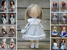 Soft doll Gray blonde Handmade Gift doll Baby doll Collectable