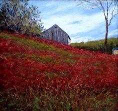Hillside With Red Clover Pastel  Artist : Bob Richey