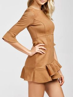 Mini Sueded Layered Dress