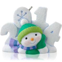 Frosty Fun Decade Lounging Snowman 2017 Hallmark Ornament #8  Snow Snowflake