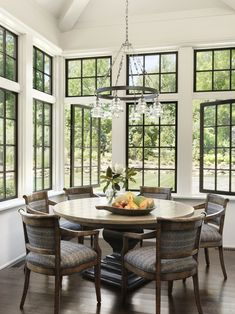 Like black sash.not sure about black grates (too traditional and block view?not sure about thick drywall in between windows + transoms Interior Railings, Interior Windows, Dining Nook, Dining Room Table, Modern Interior, Interior And Exterior, Interior Definition, Room Additions, Spanish House