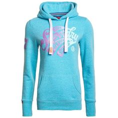 Superdry The Premium Brand Hoodie ($56) ❤ liked on Polyvore featuring tops, hoodies, blue, women, hooded sweatshirt, logo top, logo hoodies, superdry hoodies and logo hoodie