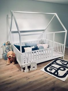 TWIN SIZE BED 39''x75'' with bed rails Teo Beds FREE SHIPPING Full Size Toddler Bed, Toddler Bed Frame, Kids Bed Frames, Buy Bed Frame, House Frame Bed, Painted Beds, Bed Rails, Full Bed, Nursery Bedding