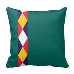 #canal Traditional diamond cratch pattern cushion in red,white,blue, and yellow with a customizable green background.