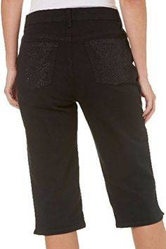 1401942c7f3cf Gloria Vanderbilt Womens Amanda Petite Colored Denim Skimmer Capri 10P  Black -- Check out the