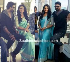 Prabhas and Anushka at Dubai for Baahubali 2 promotions. Anushka Shetty in blue banarasi silk saree Banaras Sarees, Silk Sarees, Indian Beauty Saree, Indian Sarees, Anushka Shetty Saree, Anushka Shetty Bahubali, Prabhas And Anushka, Farewell Dresses, Most Beautiful Indian Actress