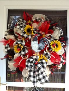 Deco Mesh Rooster Wreath by WreathsEtc on Etsy