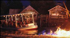 Scene 4 of The Jaws Ride at Universal Studios Theme Park. Fire surrounds the boat.