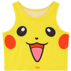 Chicnova Fashion Pikachu Printed Cropped Tank (6.88 CAD) ❤ liked on Polyvore featuring tops, sleeveless tank, print tank top, yellow tank, crop tank and pattern tank top