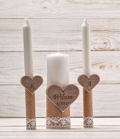 Personalized Unity Candle Set Wedding Unity Candles Unity Ceremony Set Rustic Candles Set Heart Family Candles  Candle for a Vow Renewal by HandmadeDecoupage on Etsy