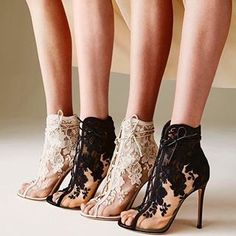 Setting the best foot forward in these embroidered lace boots by High Heels Boots, Lace Heels, High Heel Pumps, Heeled Boots, Shoe Boots, Ankle Boots, Shoes Heels, Swag Shoes, Lace Booties