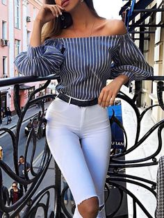 Shop Off Shoulder Striped Puff Sleeve Blouse right now, get great deals at Joyshoetique. Classy Outfits For Women, Casual Outfits, Cute Outfits, Fashion Outfits, Womens Fashion, Luxury Fashion, Off The Shoulder Top Outfit, Professional Outfits, Fashion Line