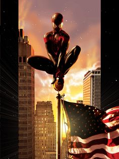Ultimate Comics Spider-Man No.7 Cover: Spider-Man Sitting on Top of a Flag Pole in the City Premium Poster at AllPosters.com