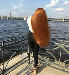 Sidorova's long flaming red silky waist length hair was transformed into an absolutely sexy floor length hair. Long Red Hair, Super Long Hair, Big Hair, Beautiful Red Hair, Beautiful Redhead, Amazing Hair, Beautiful Women, Straight Hairstyles, Cool Hairstyles