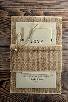 Burlap wedding invitation suite by forlovepolkadots and other Beautiful Burlap Ideas for your wedding on @intimatewedding #burlap #rusticwedding #weddinginvitations