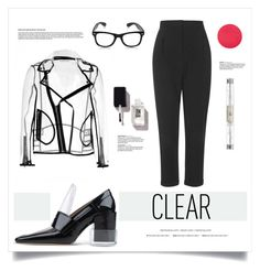 """Clear Skies"" by grrr8style ❤ liked on Polyvore featuring Topshop, Wanda Nylon, Maison Margiela, JINsoon, Charlotte Tilbury, clear and Seethru"
