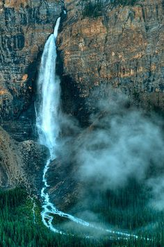 Takakkaw Falls seen from the Iceline Trail in Yoho National Park, British Columbia, Canada.