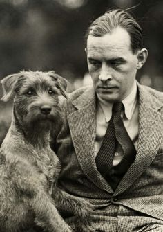Erich Maria Remarque with his dog. 1929 Beside every great man is a great dog.