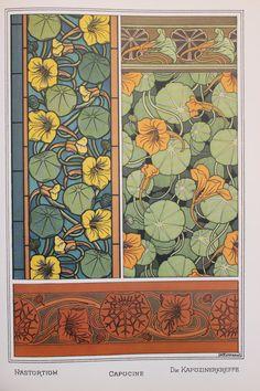 Art Nouveau Floral Designs, Vintage Botanical Print by Eugene Grasset - Nasturtium