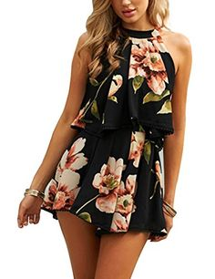 UUYUK Women Spaghetti Strap Basic Floral Print Open Back Short Rompers