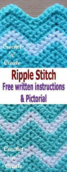 Crochet Afghans Ideas Crochet ripple stitch pictorial, also called chevron crochet, made using several colors it can be quite stunning, it is a popular stitch to use for baby blankets, afghans or dishcloths etc. Grannies Crochet, Crochet Ripple Blanket, Crochet Stitches For Blankets, Bag Crochet, Crochet For Beginners Blanket, Tunisian Crochet, Crochet Crafts, Crochet Afghans, Crochet Ideas