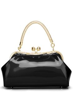 Vintage Kiss Lock Patent Leather Handbag - BLACK