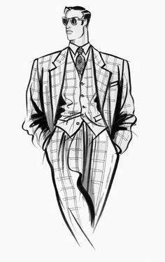Male formalwear: relaxed figure in check 3-piece suite, wearing sunglasses.  This copyrighted image is the work of British Fashion Illustrator Hilary Kidd