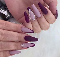Light and Dark Purple Nail Art with Crystals Nails 41 Elegant Nail Designs with Rhinestones Dark Purple Nails, Plum Nails, Purple Nail Art, Burgundy Nails, Purple Hair, Dark Color Nails, Burgundy Nail Designs, Elegant Nail Designs, New Nail Designs
