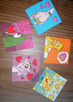 Small Canvas Paintings, Easy Canvas Art, Small Canvas Art, Easy Canvas Painting, Cute Paintings, Mini Canvas Art, Spongebob Painting, Cartoon Painting, Disney Canvas Art