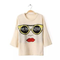 Hot Sale 2014 Autumn Women Adorable Sweater Big Eyes Pattern Half Sleeve O-Neck Knitwear Leisure Loose Pullover Pure Color EK17
