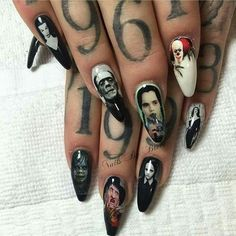 Are you looking for easy Halloween nail art designs for October for Halloween party? See our collection full of easy Halloween nail art designs ideas and get inspired! Witchy Nails, Goth Nails, Halloween Nail Designs, Halloween Nail Art, Easy Halloween, Halloween Party, Stiletto Nail Art, Acrylic Nails, Hair And Nails