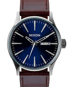 Montre Cuir Sentry Bleue et Marron NIXON