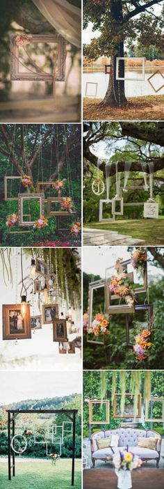 fantastic hanging wedding decoration ideas with photo frames