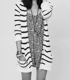 Black and White fashion black and white stripes trendy sweater