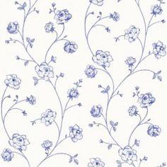 Esta Belle Rose  Prijs ;per rol €23,95  Afmetingen 10M lang en 53CM breed  Artikelnummer 115712  Patroon: 53CM  Kleur: wit, blauw  Behangplaksel: Perfax blauw